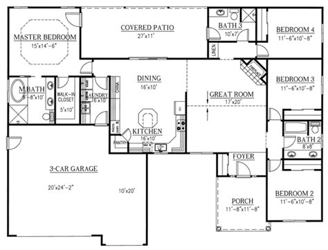 4 bedroom pole barn house floor plans house plan 50208 at familyhomeplans