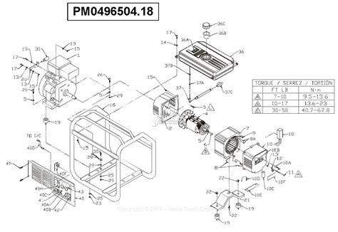 Coleman Powermate Generator Wiring Diagram by Powermate Formerly Coleman Pm0496504 18 Parts Diagram For
