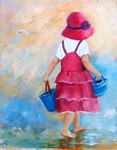 Peinture À L Eau Murale : enfant la plage peinture acrylique originale sur toile repr sentant une petite fille au bord ~ Melissatoandfro.com Idées de Décoration