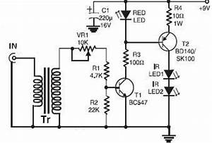 infrared circuit page 2 light laser led circuits nextgr With infrared receiver circuit with bpw41n infrared headphones transmitter