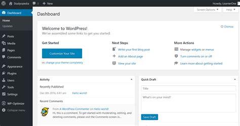 Wordpress Dashboard wordpress dashboard ui studyopedia 1330 x 698 · png