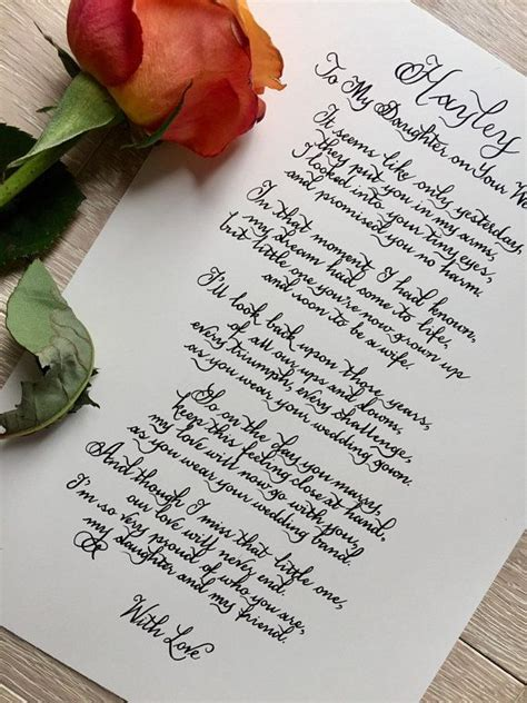 daughter   wedding day poem love mum