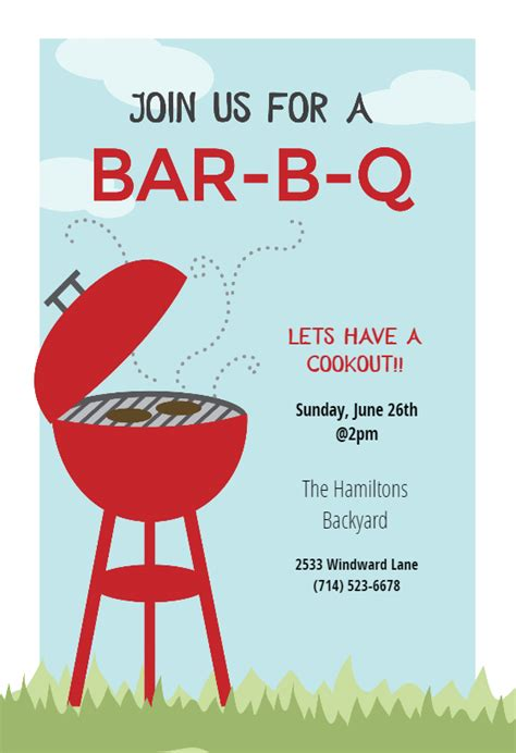 bbq cookout  bbq party invitation template