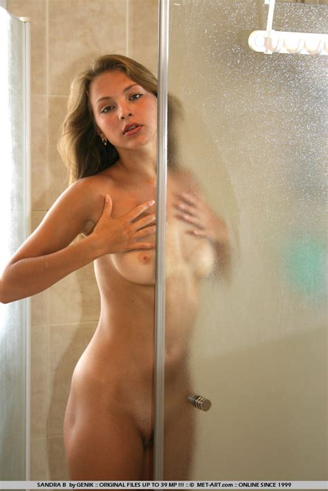 sandra b in bathroom redbust