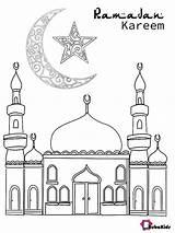 Ramadan Coloring Kareem Mosque Crescent Bubakids Cartoon sketch template