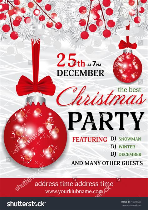 Christmas Party Invitation Template Background Fir Stock
