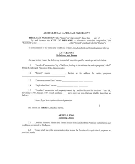 Land Rental Agreement Template by Land Lease Template 7 Free Word Pdf Documents