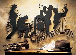 Jazzin quintet music theme metal hanging wall art jazz