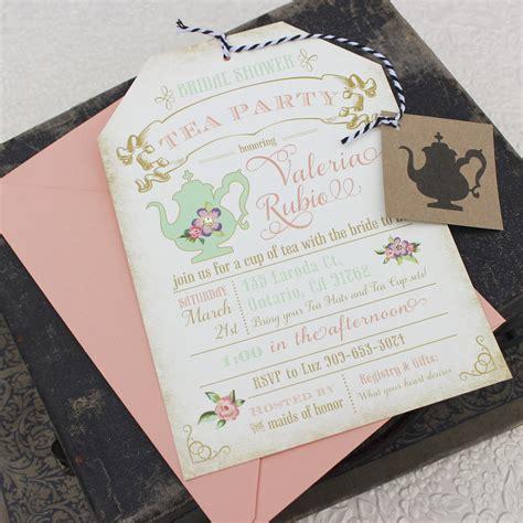 floral tea party bridal shower invitation