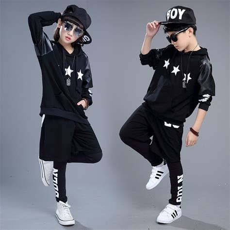2017 big boys and girl clothes Hip hop dance costumes long sleeved performance costumes children ...