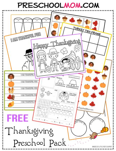 free preschool thanksgiving activity pack and printables