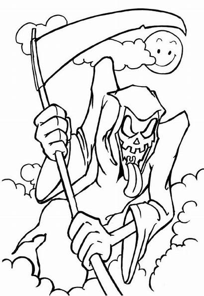 Coloring Scary Pages Grim Reaper