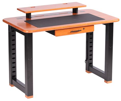 desk with monitor shelf loft desktop riser shelf natural cherry caretta workspace
