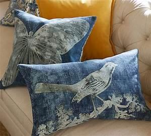 batik bird printed lumbar pillow cover pottery barn With bird pillows pottery barn