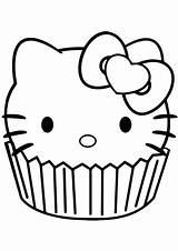 Cupcake Kitty Hello Coloring Pages Printable Cartoon Categories Characters Anime sketch template