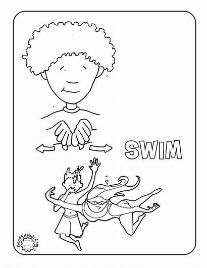 Asl Coloring Pages Language Sign Swim Signs