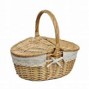 Willow Wicker Basket Camping Picnic Basket Hamper with Lid