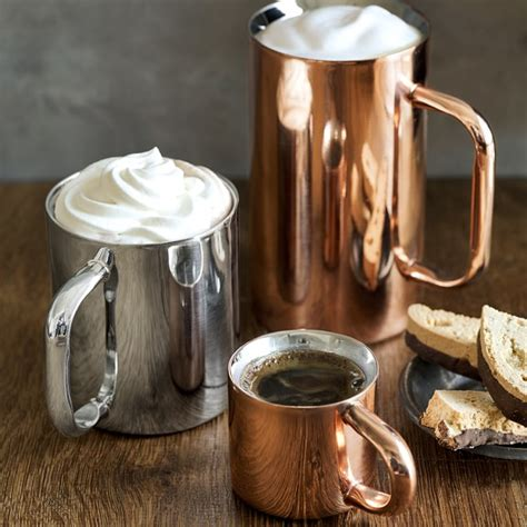 The durable glass is great for everyday use and casual entertaining. Double Wall Tall Copper Coffee Mug   Williams Sonoma
