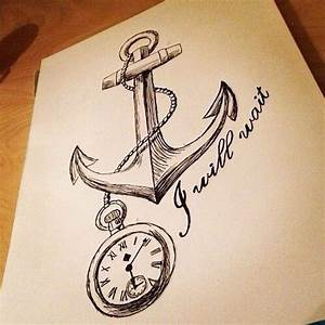 Anchor & pocket watch drawing art | Anchor & Compass ...
