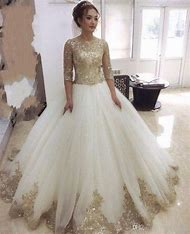 Half Sleeves White and Gold Wedding Dress…