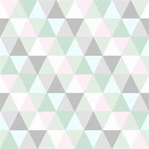 esta home vliestapete 39triangle39 mint rosa grau bei With balkon teppich mit mint tapete