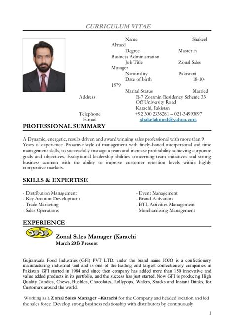 Administration Curriculum Vitae by Shakeel Ahmed Cv