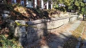 Demolition of stone retaining wall at 110 South Mendenhall ...