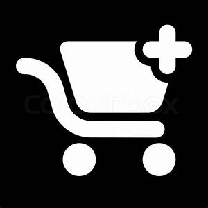 Icon - shopping cart add - black white | Stock Vector ...