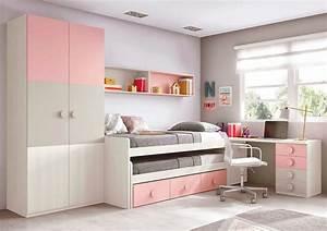 chambre ado fille astucieuse avec son lit gigogne With photo chambre ado fille