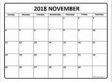 Latest November 2018 calendar printable free Printable