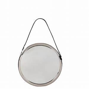 Miroir Rond Suspendu : miroir ls rond noir lifestyle achat vente miroir rond cuir et chrome suspendre ~ Teatrodelosmanantiales.com Idées de Décoration