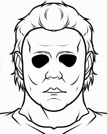 Myers Michael Coloring Easy Halloween Draw Creepy