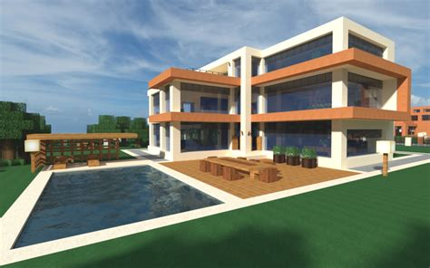 modern minecraft home and pool