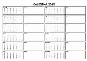 2018 calendar excel a3 with notes download our free With usable calendar template
