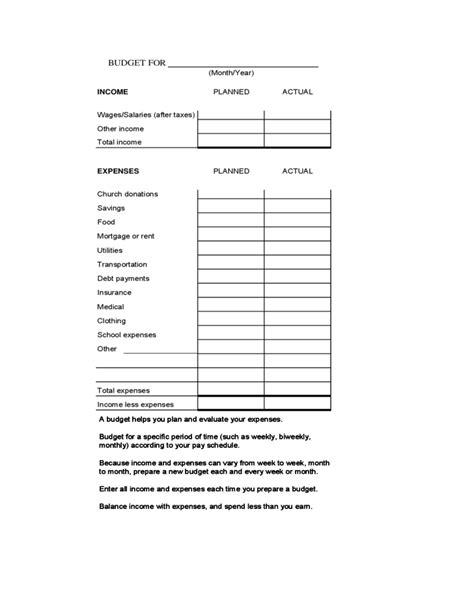 blank family budget worksheet