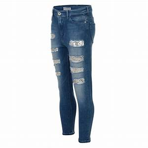 Guess Girls Blue Ripped Jeans with Silver Sequin Detailing ...