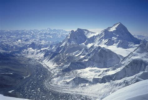 Looking Down The Kangshung Glacier With Makalu(8,475m
