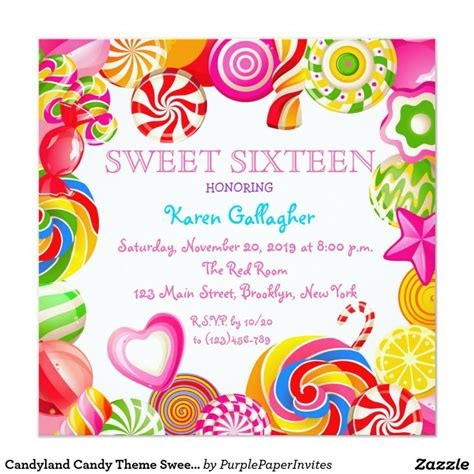 Candyland Candy Theme Sweet 16 Invitation  Sweet 16