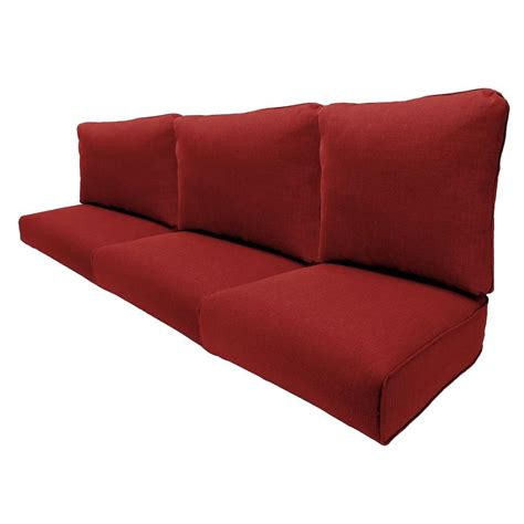 settee cushion pads hton bay woodbury chili replacement outdoor sofa