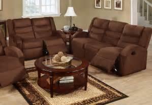 poundex f6667 f6668 chocolate microfiber reclining sofa and loveseat