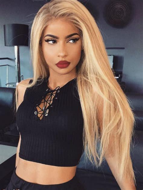 straight long blonde hairstyles wigs  black women human