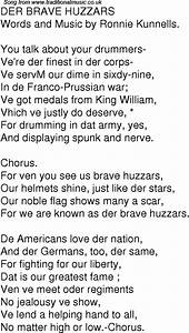 Old Time Song Lyrics For 01 Der Brave Huzzars