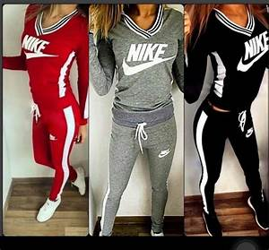 Jumpsuit nike black red grey sweatsuit set joggers sweatpants outfit shirt - Wheretoget