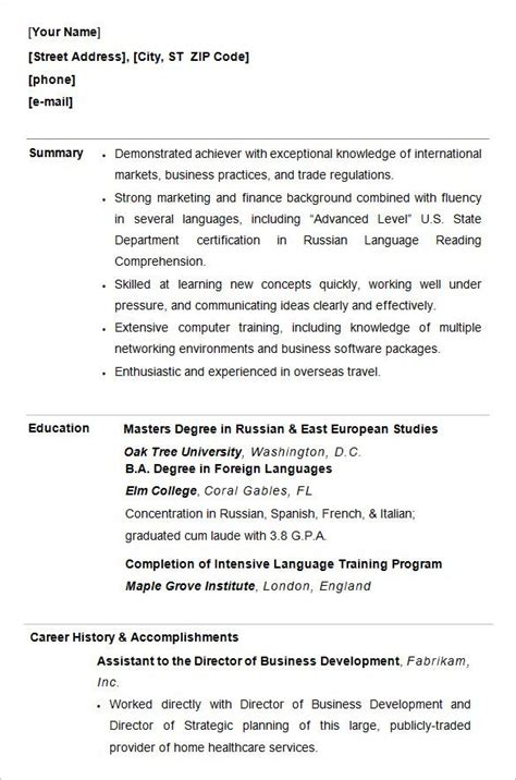 College Resume Template by For College Students Student Resume Template College