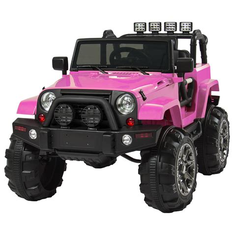 toy jeep car jeep wrangler pink 12v battery ride on car truck rc remote