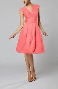 coral modest v neck short sleeve backless taffeta knee With modest wedding guest dresses