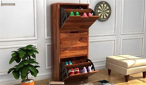 buy ferron shoe rack teak finish   india