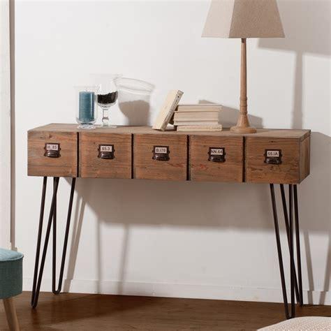 console en bois console industrielle en bois avec tiroir orianne so inside