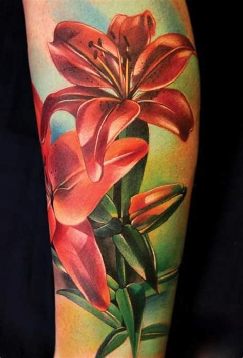 realistic floral tattoos