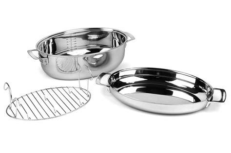 viking tri ply oval multi roaster  induction lid rack  quart cutlery